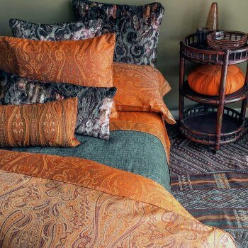 Anichini Kashmir Paisley Jacquard Duvet Covers In Orange