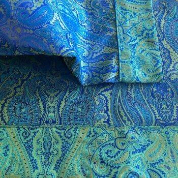 Anichini Kashmir Paisley Jacquard Sheet Sets In Marine Blue