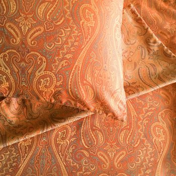 Anichini Kashmir Paisley Jacquard Bottom Sheets In Orange