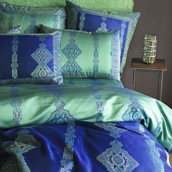 Anichini Persia 2.0 Jacquard Sheeting In Jade Green