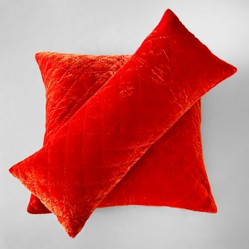 Anichini Pho Handmade Blood Orange Silk Velvet Pillows