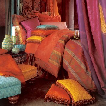 Anichini Taj Paisley Jacquard Ultra King Sheets In Rust Sage