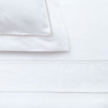 Anichini Theodora Percale Sheets with a Gigliuccio Inspired Lace Insertion