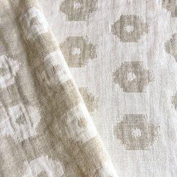Anichini Tokkat Small Circles Modern Circle Pattern Linen Shower Curtains