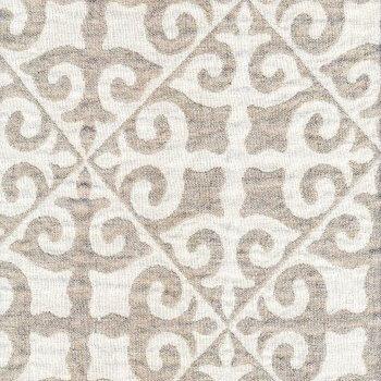 Anichini Yutes Collection Tokkat Tile Design Linen Matelassé Fabric