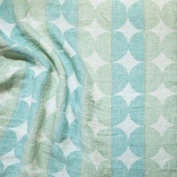 Anichini Yutes Collection Contorno Modern Graphic Linen Fabric In Spaqua