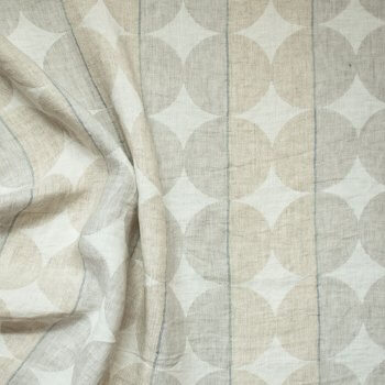 Anichini Yutes Collection Contorno Modern Graphic Linen Fabric In Neutral