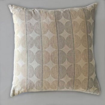 Anichini Contorno Linen Circle Pattern Decorative Pillows In Neutral
