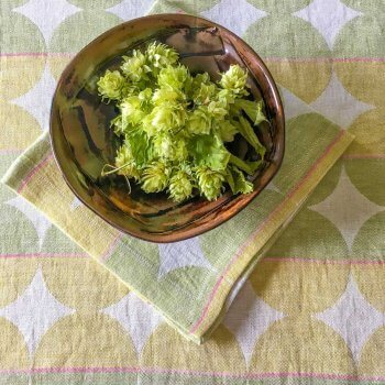 Anichini Contorno Modern Linen Table Runners In Olive Green