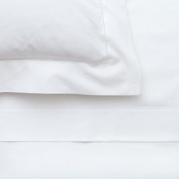 Anichini Irina Italian Hemstitched Percale Sheets in White