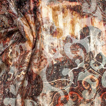 Anichini Lagoon Printed Fortuny Velvet Fabric In Fall