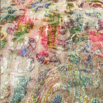 Anichini Lagoon Printed Fortuny Velvet Fabric In Spring