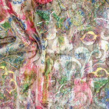 Anichini Lagoon Printed Fortuny Velvet Fabric In Spring