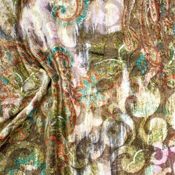 Anichini Lagoon Printed Fortuny Velvet Fabric In Winter