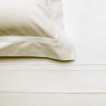 Anichini Lorraine Italian Percale Sheets with a Double Shadow Stitch in White