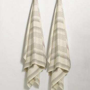 Anichini Olga Striped Flatweave Linen Bath Towels
