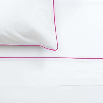 Anichini Palladio Percale Cases And Shams in White/Fuchsia