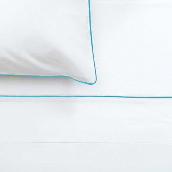 Anichini Palladio Percale Sheeting in White/Spaqua
