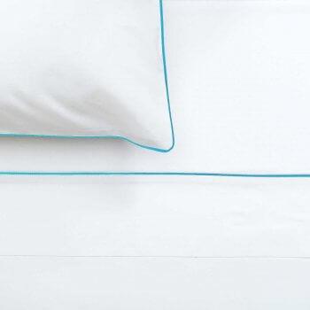 Anichini Palladio Percale Sheets in White/Spaqua