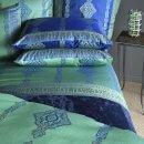 Anichini Persia 2.0 Jacquard Sheeting In Marine Blue And Jade Green