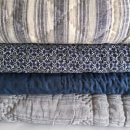 Anichini Pho Collection Handmade Indigo Linen Quilts