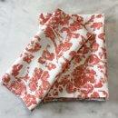 Anichini June Modern Floral Pattern Linen Bath Towels