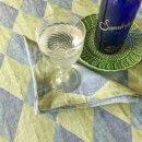 Anichini Puzzle Diamond Pattern Linen Tablecloths In Blue Green