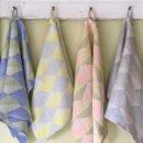 Anichini Puzzle Modern Graphic Diamond Pattern Linen Bath Towels
