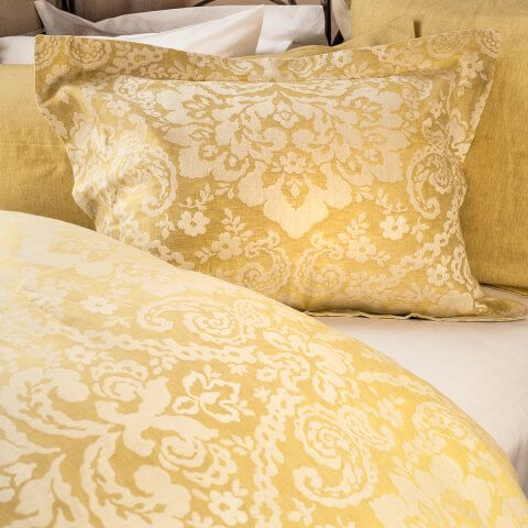 Anichini Janus Italian Linen Sheeting in Khaki/White