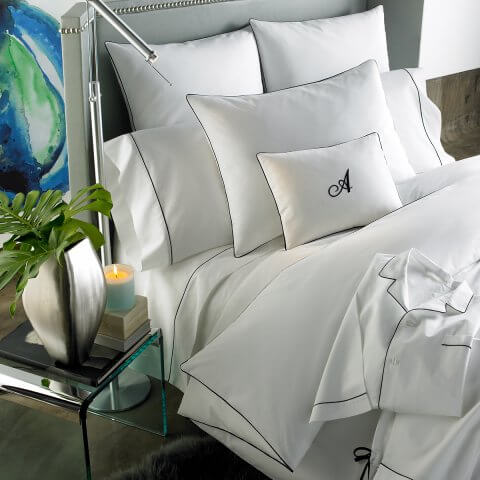 Anichini Palladio Percale Top Sheets in White/Black