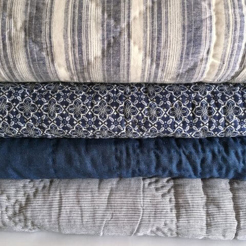 Anichini Pho Collection Handmade Indigo Ticking Stripe Linen Quilts