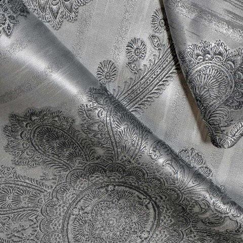 Anichini Piana Grey Silk Medallion Sheets