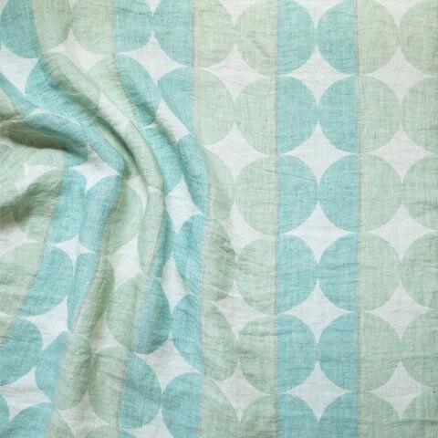 Anichini Contorno Modern Circle Pattern Linen Shower Curtains