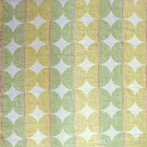 Anichini Contorno Lightweight Linen Modern Circular Pattern Quilts In Olive Green