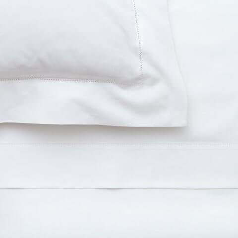 Anichini Irina Italian Hemstitched Percale Sheeting in White