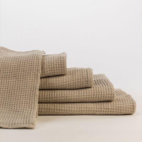 Anichini Linen Waffle Weave Bath Towels  In Ivory