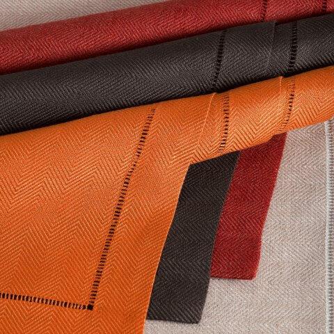Anichini Nobel Herringbone Hemstitched Linen Table Linens