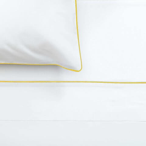 Anichini Palladio Percale Sheets in White/Marigold