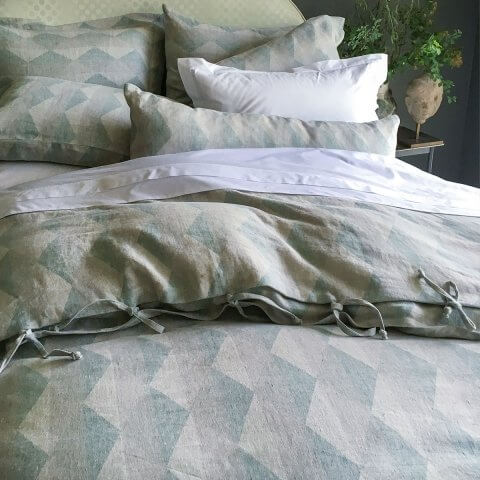 Anichini Puzzle Harlequin Diamond Line Duvet Covers & Shams In Grey