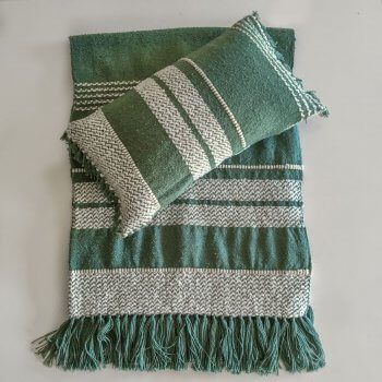 Anichini Hospitality Narmada Turtle Green Washable Wool Blend Throws And Pillows