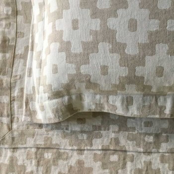 Anichini Tokkat Cross Design Linen Bedding, Coverlets, and Shams