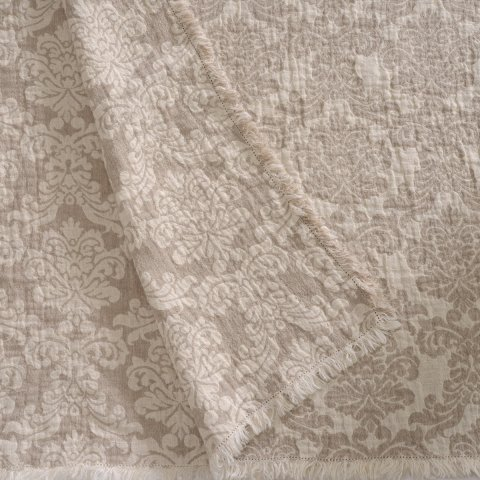 Anichini Hospitality Damask Washable Linen Throws