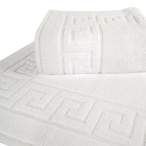 Anichini Hospitality Greek Key Stock Turkish Terry Bath Mats