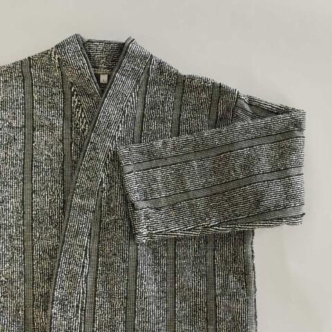 Anichini Vilnius Black and White Stripe Linen Terry Robes