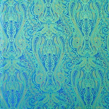 Anichini Kashmir Paisley Italian Jacquard Fabric In Jade Green (Reverse Of Marine Blue)