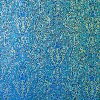 Anichini Kashmir Paisley Italian Jacquard Fabric In Marine Blue