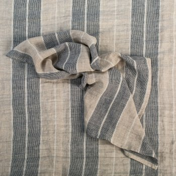 Anichini Valdas Linen Fabric In Natural With Black And Ivory Multi Stripes