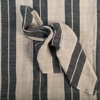 Anichini Valdas Linen Stripe Fabric In Black Wide And Ivory Pin Stripe
