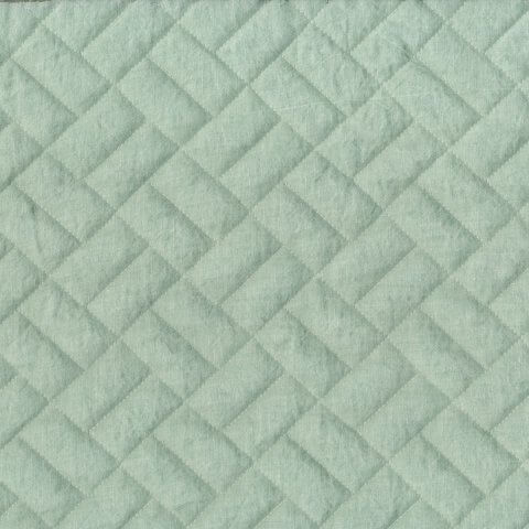 Anichini Yutes Collection Brick Geometric Quilted Linen Fabric In Sage