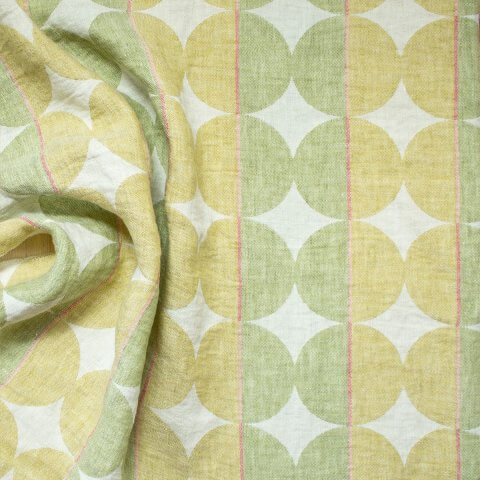 Anichini Yutes Collection Contorno Linen Fabric In 05 Olive Green Right Side